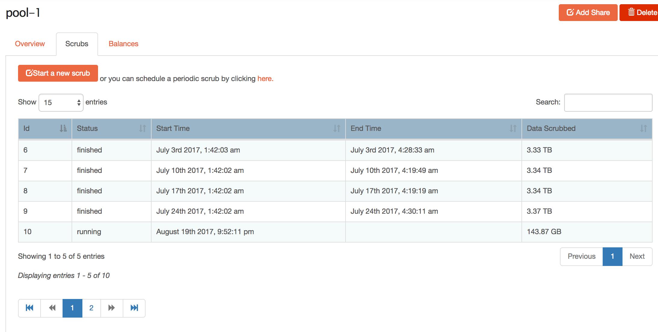 Scheduled Scrub not running - Troubleshooting - Rockstor