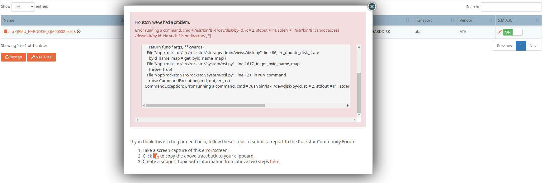 Error on disk rescan - Support - Rockstor Community Forum