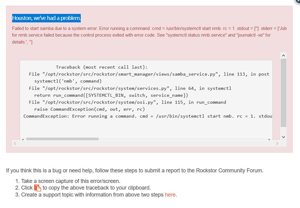 Samba error when attempt to activate - Support - Rockstor